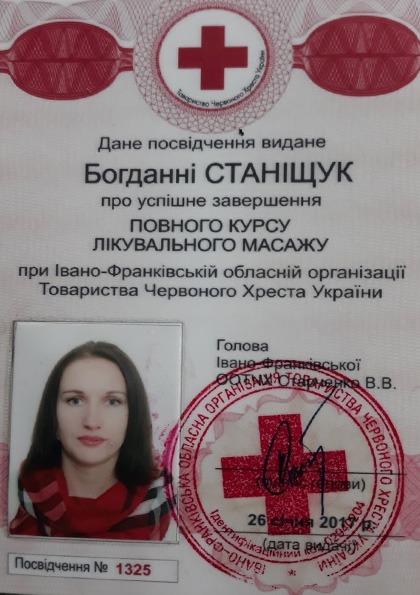 Станішук Богдана: Сертифікат з курсів лікувального масажу