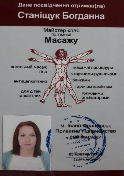 Сертифікат по завершенню курсів з масажу Станіщук Богдана